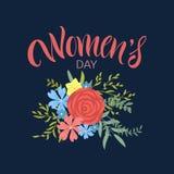 Hälsningkort med internationell dag för kvinna` s Arkivfoto