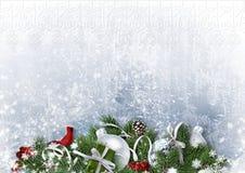 Hälsningkort med julbollar och gran-träd på vitbok Fotografering för Bildbyråer