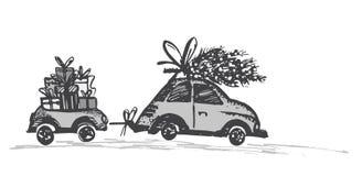 Hälsningkort med julgranen på biltaket och bilsläpet med xmas-gåvor royaltyfri illustrationer