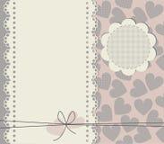 Hälsningkort med kopieringsutrymme och fyrkantiga texturhjärtor Royaltyfri Foto