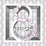 Hälsningkort med 8 kvinnors för mars Day_1 Arkivbilder
