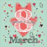 Hälsningkort med 8 kvinnors för mars Day_6 Royaltyfria Foton