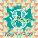 Hälsningkort med 8 kvinnors för mars Day_3 Royaltyfri Bild