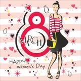 Hälsningkort med 8 kvinnors för mars Day_4 Royaltyfria Bilder