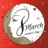 Hälsningkort med 8 kvinnors för mars Day_13 Arkivbild