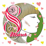 Hälsningkort med 8 kvinnors för mars Day_14 Arkivfoto