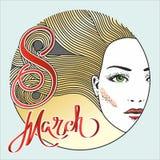 Hälsningkort med 8 kvinnors för mars Day_15 Royaltyfri Foto