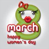Hälsningkort med 8 kvinnors för mars Day_11 Arkivbilder