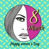 Hälsningkort med 8 kvinnors för mars Day_16 Arkivbild
