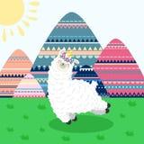 Hälsningkort med lamaenhörningen och bergtecknad filmlandskap Mall för utskrift, rengöringsdukdesign, vykort vektor illustrationer