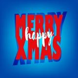 Hälsningkort med lycklig glad Xmas för text stock illustrationer