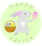 Hälsningkort med lycklig påsk för kanin och för ägg Royaltyfria Bilder