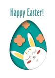 Hälsningkort med lycklig påsk - kanin och ägg Rolig tecknad film för kaninvårferie Vektor klippt ut pappers- symbol in royaltyfri illustrationer
