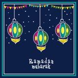 Hälsningkort med lyktan för Ramadan Kareem beröm Arkivfoto