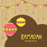 Hälsningkort med lyktor för Ramadan Mubarak Royaltyfri Foto