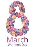 Hälsningkort med mars 8 stock illustrationer
