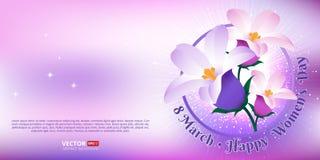 Hälsningkort med 8 mars Lycklig internationell dag för kvinna` s stock illustrationer