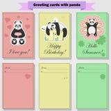 Hälsningkort med pandan för dig stock illustrationer