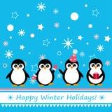 Hälsningkort med pingvinet Royaltyfri Fotografi