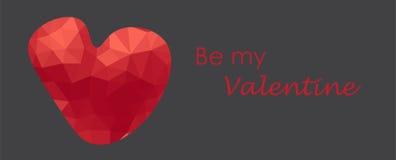 Hälsningkort med röd polygonehjärta Valentinvektorillustration Royaltyfria Bilder