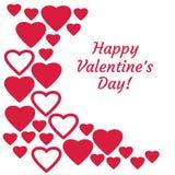 Hälsningkort med röda hjärtor och lycklig valentindag för inskrift vektor royaltyfri illustrationer