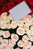 Hälsningkort med rosor för lyckönskan eller inbjudan till en beröm Arkivbilder