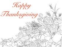 Hälsningkort med tacksägelsedag med en ymnighetshorn och en genero royaltyfri illustrationer