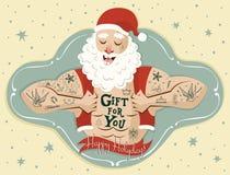 Hälsningkort med tatueringjultomten vektor Royaltyfri Foto