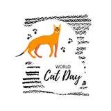 Hälsningkort med text 'värld Cat Day ', Symbol av den abyssinian aveln vektor illustrationer