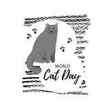 Hälsningkort med text 'värld Cat Day ', Symbol av den brittiska shorthairaveln royaltyfri illustrationer