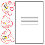 Hälsningkort med tulpan och ramen royaltyfri illustrationer