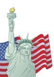Hälsningkort med U S flagga och staty av frihet 4th juli förenade dagsjälvständighettillstånd Grafiskt AMERIKANSKT royaltyfria foton
