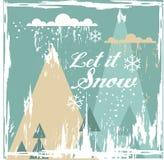 Hälsningkort med vinterlandskap Arkivfoto