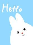 Hälsningkort med vit gullig kanin kanin roliga easter Royaltyfria Bilder
