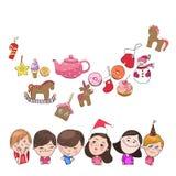 Hälsningkort, nytt år och jul vektor illustrationer