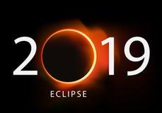 Hälsningkort 2019 på bakgrunden av den sol- förmörkelsen vektor illustrationer