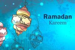 Hälsningkort Ramadan Kareem lampor för Ramadan royaltyfri illustrationer