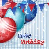 Hälsningkort till födelsedagen med ballonger och flaggor stock illustrationer
