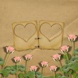 Hälsningkort till St.-valentin dag med rosor och glidbanor Royaltyfria Foton