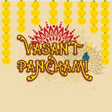 Hälsningkortdesign för lyckliga Vasant Panchami Fotografering för Bildbyråer