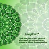 Hälsningkortdesign med den gröna mandalaen Royaltyfri Bild