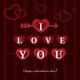 Hälsningkortet älskar jag dig den lyckliga Valentine Day vektorillustrationen Modelldesign Reklamblad eller inbjudan Arkivfoto