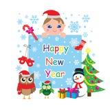 Hälsningkortet för det lyckliga nya året, mallen, baner med ugglor, behandla som ett barn, snögubben, julträdet och snöflingor oc royaltyfri illustrationer
