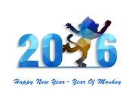 Hälsningkortet 2016 för det lyckliga nya året stiliserade den polygonal modellen för triangeln Arkivfoton