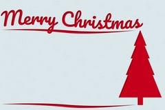 Hälsningkortet för glad jul med röd text och Xmas sörjer träd a royaltyfria foton