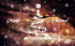 Hälsningkortet för glad jul med sörjer trädet Arkivbilder