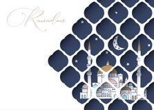 Hälsningkortet, inbjudan för muslim semestrar Ramadan Kareem Hand dragen moské med månen och stjärnor Sikt till och med vit Royaltyfri Fotografi