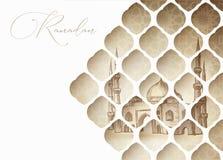 Hälsningkortet, inbjudan för muslim semestrar Ramadan Kareem tecknad handmoské Sikt till och med orientaliskt vitsnittpapper vektor illustrationer
