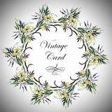 Hälsningkortet med blommor, vattenfärg, kan användas som inbjudankort och annan ferie- och sommarbakgrund vektor illustrationer