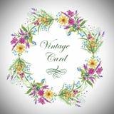 Hälsningkortet med blommor, vattenfärg, kan användas som inbjudankort och annan ferie- och sommarbakgrund royaltyfri illustrationer